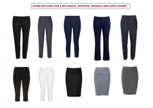 bottoms for rectangle , inverted triangle or apple body shapes